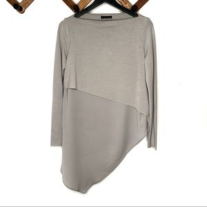 ZARA tiered sheer asymmetrical hem blouse